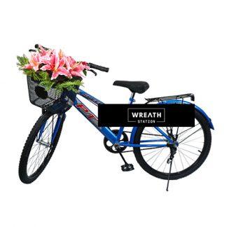 พวงหรีดจักรยานดอกไม้สีชมพู