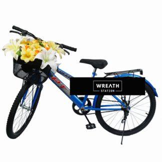 พวงหรีดจักรยานดอกไม้สีเหลืองขาว