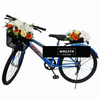 พวงหรีดจักรยานประดับด้วยดอกไม้ประดิษฐ์โทนสีแดง
