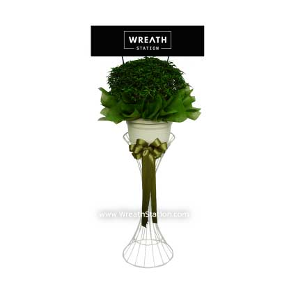 พวงหรีดต้นไม้ พุดศุภโชค โบว์สีเขียวเข้มโดยwreathstation