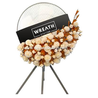 พวงหรีดพัดลมอุตสาหกรรม ดอกไม้ประดิษฐ์สีเอิร์ธโทนจาก Wreath Station